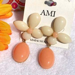 New! Boho Earrings Flower Ivory Orange Post Drops